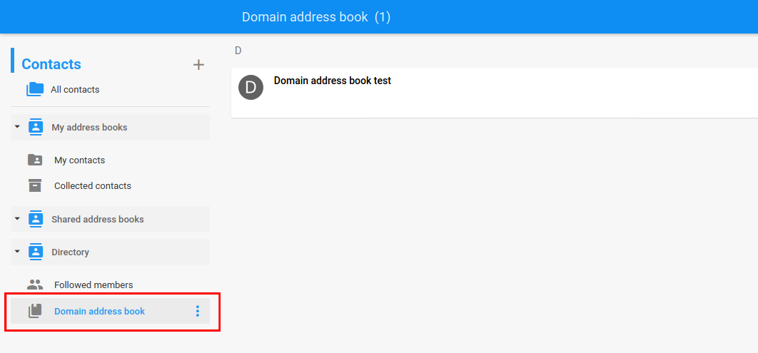 Domain address book section